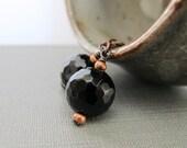Onyx Earrings, Black Onyx, Gemstone Earrings, Earthy Natural, Copper Jewelry, Copper Earrings, Jet Black, Earthy Elegance