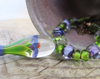 Glass Necklace, Pendant Necklace, Flower Pendant, Clear Purple Glass, Lime Green Glass, Copper Necklace, Lampwork Glass,