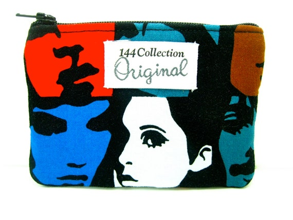 Mod Faces Black Coin Purse, Change Purse, Coin Pouch, Small Womens Wallet