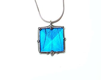 Blue Morpho Butterfly Glass Crystal Necklace - Real Butterfly Jewelry