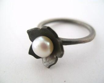 Tiny Kikyo Ring - Sterling Silver and Pearl.