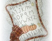 Fall Door Hanging Pillow Decoration Primitive Hand Embroidered Sampler Alphabet Pumpkins Country Autumn Decor