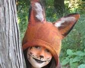 Fox Hat .Felted Wool Hat.  Kid Hat