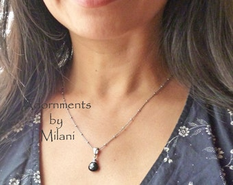 Black Necklace Gemstone Beaded Simple Sterling Silver Chain- Affinity
