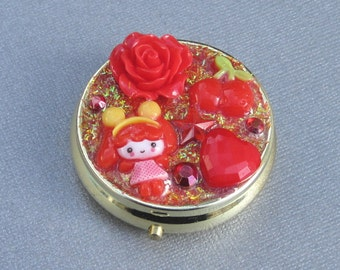 cherries and roses red theme kawaii round pill case - mirrored compact - stash box - decora decoden lolita