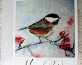 Chickadee Christmas Card - Season's Change