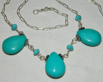 Turquoise Necklace Sterling Silver Gemstone Necklace Wirewrapped
