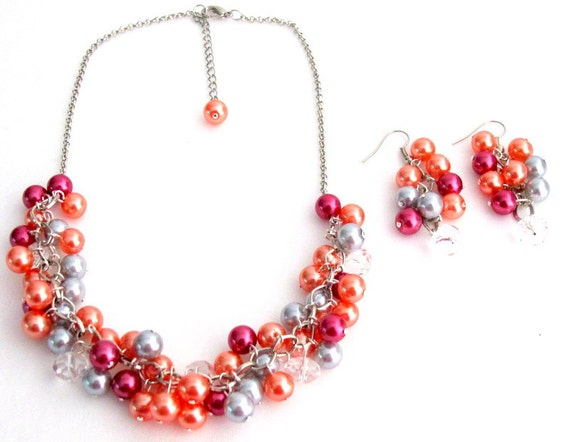Salmon Lite Gray Magenta Gift Chunky Pearls Necklace Earrings Set Wedding Gift Free Shipping In USA