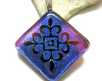 Magenta Blue Dichroic Fused Glass Pendant