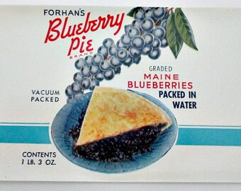 4 Blueberry Vintage Paper Can Label - H.L. Forhan Portland Maine  - Red White Blue Graphics - Vintage Kitchen Decor Supply