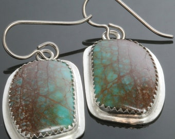 Genuine Turquoise Earrings. Sterling Silver Settings. Titanium Ear Wires. One of a Kind. Gift for Her.