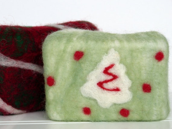Felted Soap Holiday Christmas Tree Wool by PreciousGems on Etsy