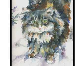 Watercolor Snow Cat Note Cards Notecards, Cat Art, Cat Print, Cat Stationery, Greeting Cards, Gift Box, Stocking Stuffers, Cat Lovers