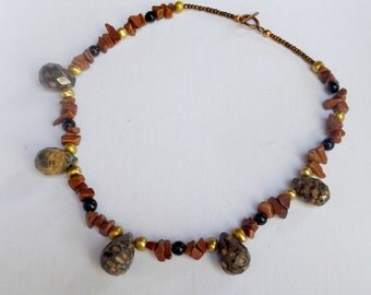 Leopard Jasper Briolette, Goldstone, Onyx, and Freshwater Pearls Necklace