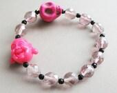Pink Bracelet Buddha and Skull Pink Bracelet Stretch Bracelet Buddha Bracelet