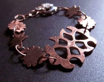 Primitive Copper Amulet Talisman Bracelet, Elemental Artisan Copper Jewelry, Copper Wedding 7th Anniversary Gift, Rustic Metal Bracelet