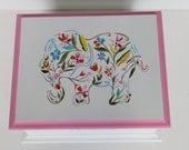 Floral Elephant Baby Keepsake Memory Box personalized baby gift