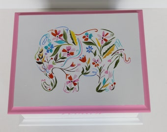 Baby Keepsake Box Baby Memory Box Floral Elephant hand painted personalized baby gift for girl