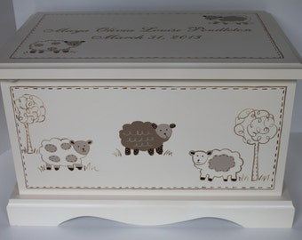 Baby keepsake box Fluffy Ivory Sheep / Lamb - baby keepsake chest memory box personalized baby gift hand painted