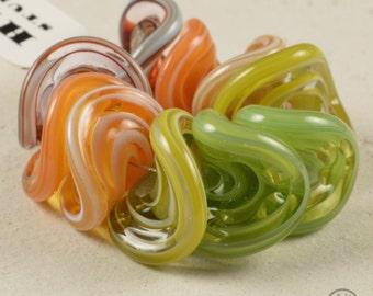 Wavy Spiral Discs - Lampwork Beads
