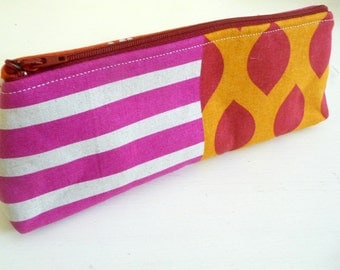 Long Pencil Pouch, Cosmetics Bag made with Echino Fabric and easy to clean lining