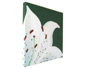 Original White Lily Flower painting - macro close up of a spotted lilium, acrylic art on a square canvas (UK only)