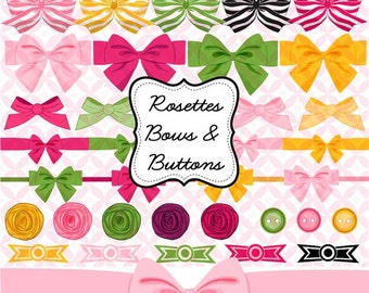 40% off Rosettes, Bows and Buttons clipart, Decorative gift wrap bows in green, hot pink, yellow INSTANT DOWNLOAD