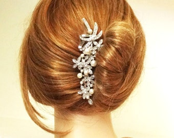 Victorian Style Bridal Hair Accessories, Pearl & Crystal Wedding Bridal Hair Comb, Art Deco Bridal Hair Accessories, Candide