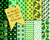 Leprechaun Papers, St. Patty's Day Clip Art, Digital Scrapbooking Papers, Scrapbook Backgrounds, Surface Patterns, Leprechaun Clip Art, Art
