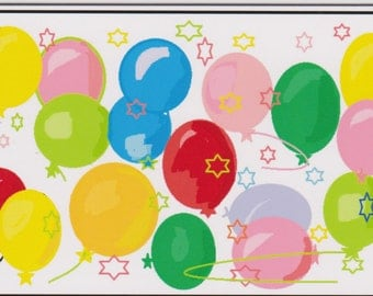 Festive Balloons and Stars Birthday Greeting Card