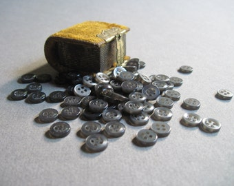 tiny gray buttons set of 100