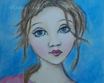 Girl Art Original Painting by California Artist Debra Alouise