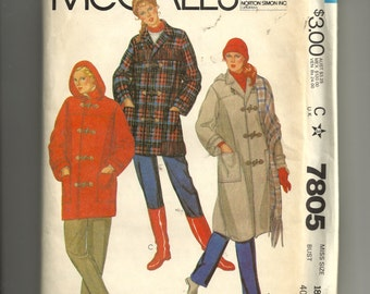 McCall's Misses' Coat or Jacket and Hood Pattern 7805