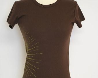 Yellow sun brown t shirt sale medium