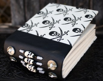 SKULL and CROSSED SWORDS Journal Blank Book Art Journal Beaded Black Leather Spine Paper Covered