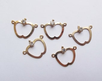 Vintage gold plate apple and rhinestone charms
