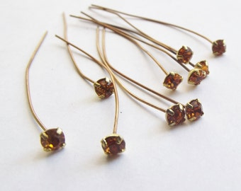 Vintage amber topaz rhinestone tipped headpins