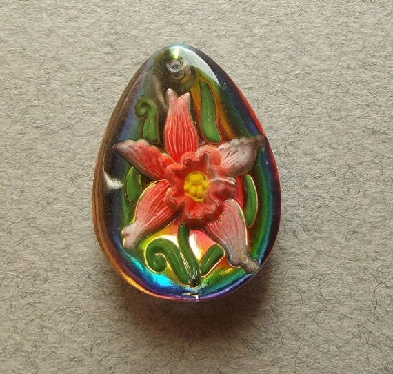 Vintage vitrail flower pendant