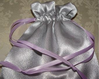 Silver satin prom bag wedding reticule purse drawstring
