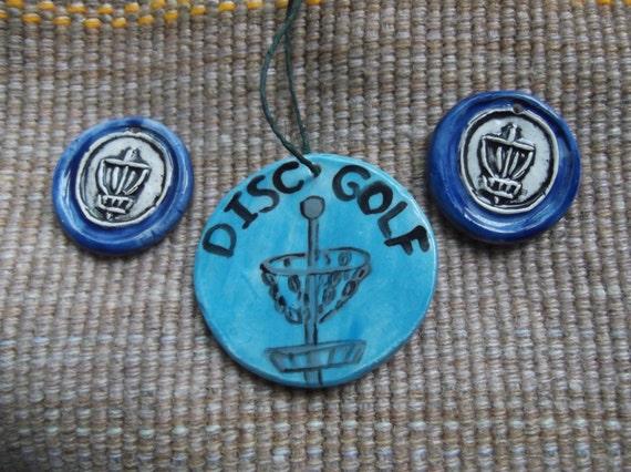 3 designer ceramic disc golf pendants 2 bag tags large ornament