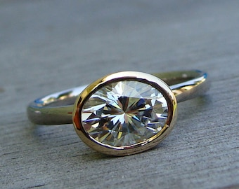 Oval Wedding Ring - Forever One G-H-I Moissanite, Recycled 14k Yellow Gold, and 18k Palladium White Gold - Engagement Ring - Made to Order