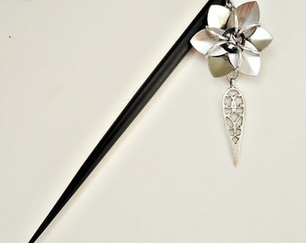BLACK Wooden Hair Stick with Silver Flower and Teardrop Dangle