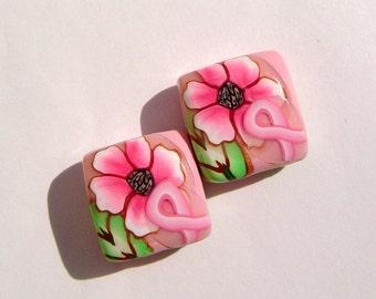 Pink Ribbon Breast Cancer Awareness Artisan Polymer Clay Bead Pair