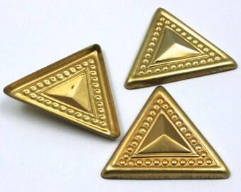 50mm Raw Brass Dotted Triangle (2 Pcs) #32