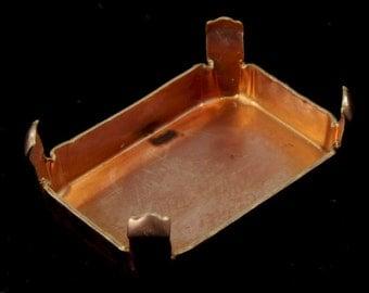 22mm Copper Rectangular Cabochon Setting (4 Pcs) #1556
