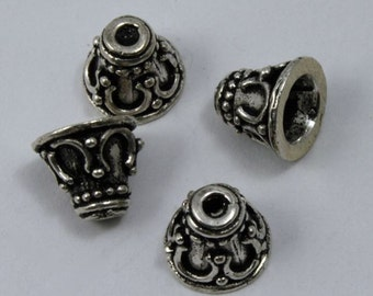 8mm Sterling Silver Decorative Cone (2 Pcs)  #TKS049