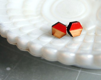 wooden hex post earrings with orange hand painted detail- modern style