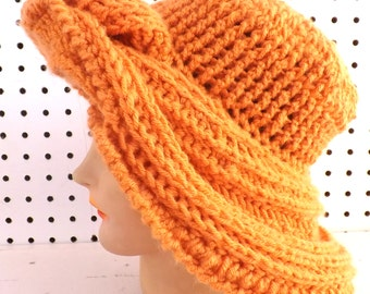 50th Birthday Gift Ideas for Women, Orange Crochet Hat Womens Hat, Crochet Winter Hat, FRONTIER Wide Brim Hat, Desert Glaze Orange Hat