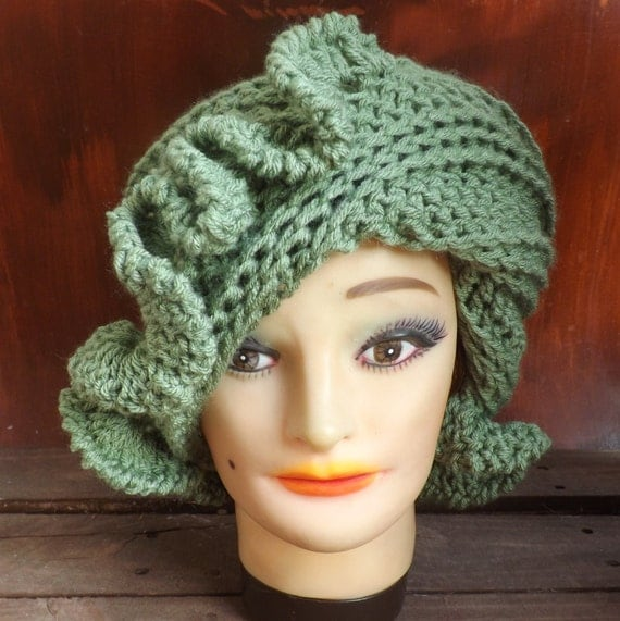 CYNTHIA Crochet Beanie Hat with Ruffles