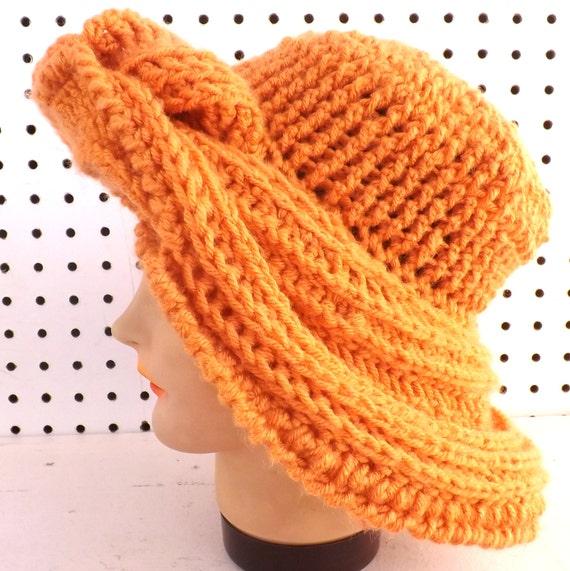 Via 50th Birthday Gift Ideas For Women Orange Crochet Hat Womens Winter FRONTIER Wide Brim Desert Glaze By